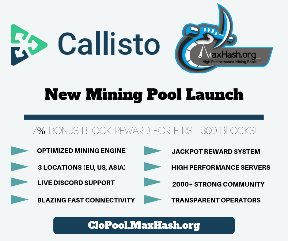 MaxHash Callisto Mining Pool Launch
